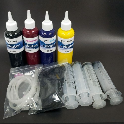 HP 970, 971 genuine ink cartirdge refill kit with 4 X 200ml clogging free premium pigment ink
