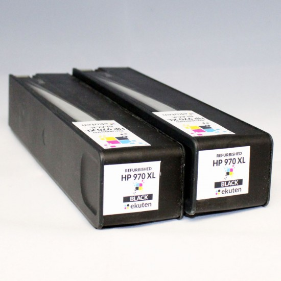 2 x HP 970XL(CN625AM) BLACK Refurbished Cartridge